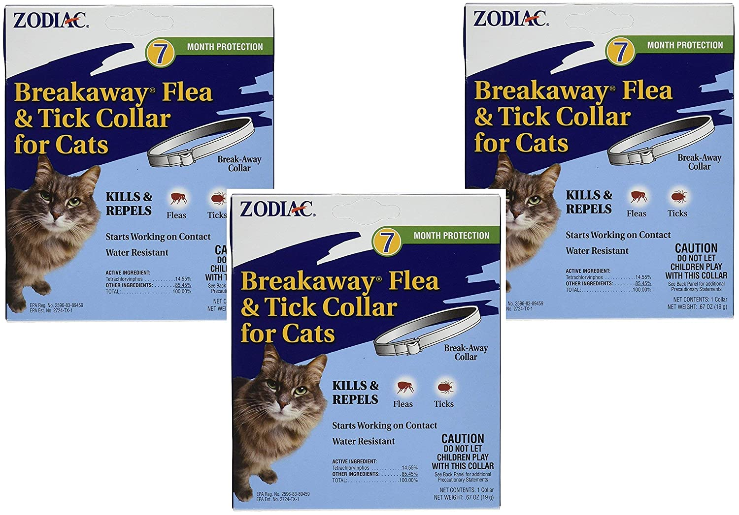 """(3 Pack) Zodiac Breakaway Flea and Tick Collar for Cats, 13"""" 91tgGVP15CL"""