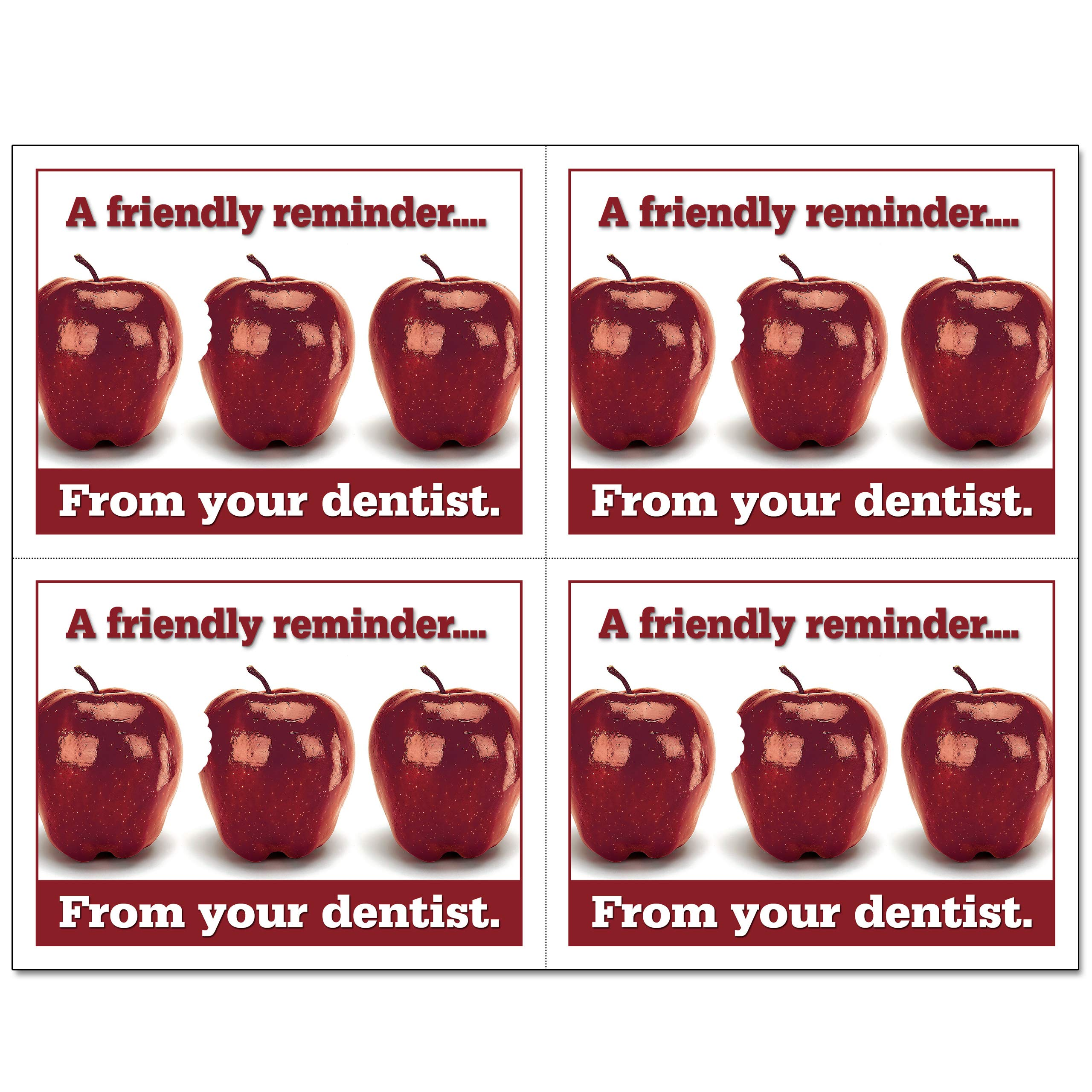 Laser Reminder Postcards, Dental Appointment Reminder Postcards. 4 Cards Perforated for Tear-Off at 4.25'' x 5.5'' on an 8.5'' x 11'' Sheet of 8 Pt Card Stock. DEN106-LZS (5000) by Custom Recall (Image #2)