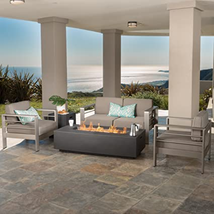 Incredible Christopher Knight Home Crested Bay Patio Furniture Outdoor Aluminum Sectional Sofa Set With Dark Grey Fire Table Andrewgaddart Wooden Chair Designs For Living Room Andrewgaddartcom