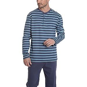 9b82f433f6a2f2 Herren Gestreifter Langer Zweiteiliger Pyjama/Schlafanzug, Moderne  Nachtwäsche für Männer - Strickwaren, 100