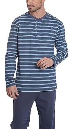 1357ae5a52c97a Herren Gestreifter Langer Zweiteiliger Pyjama/Schlafanzug, Moderne  Nachtwäsche für Männer - Strickwaren, 100% Baumwolle - Grünliches Blau,  Marineblau und ...