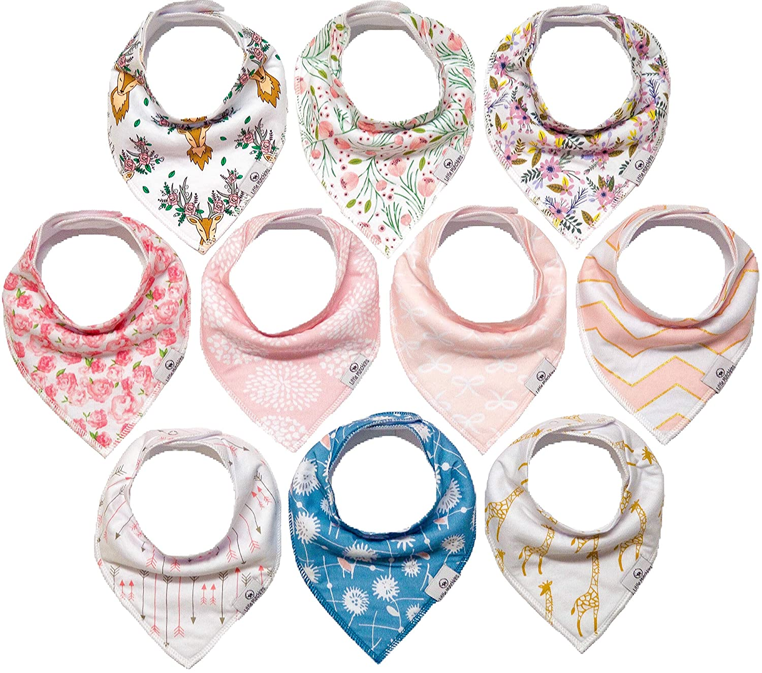 10-Pack Girl Bandana Bibs Little Munchkins Handkerchief Bibs, Baby Drool Bibdanas, Organic Cotton, Super Absorbent, 10 Stylish Designs for Baby Girls Toddler, Adjustable Snaps LittleMunchkins