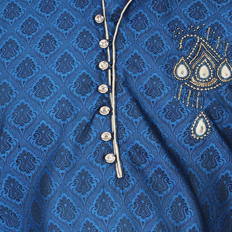 SKAVIJ Mens Tunic Jacquard Silk Kurta Pajama Set Paisley Print