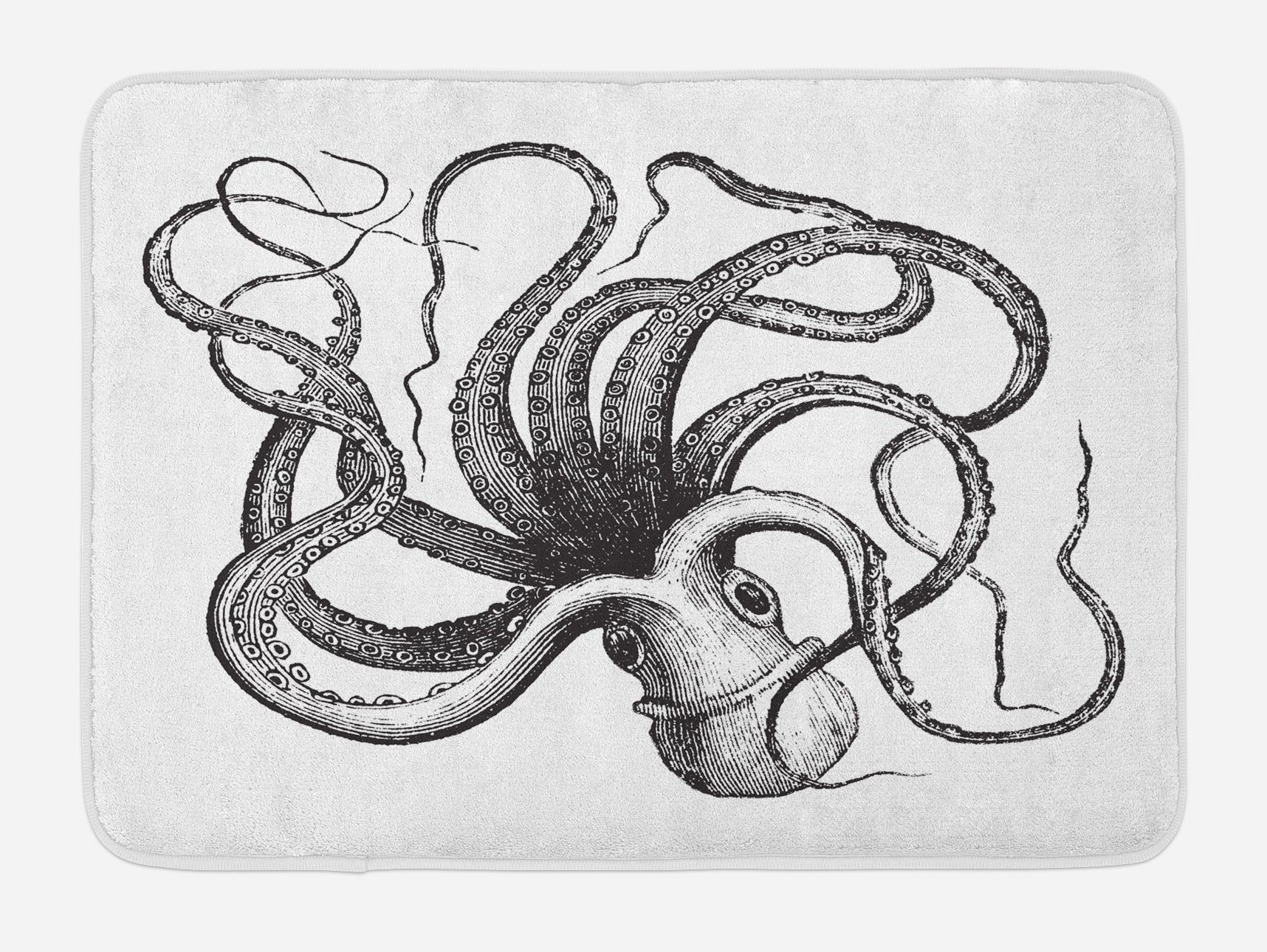 Lunarable Octopus Bath Mat, Monochrome Subaquatic Animal Illustration Hand Drawn Sketch Style Aquatic Life, Plush Bathroom Decor Mat with Non Slip Backing, 29.5 W X 17.5 W Inches, Black White