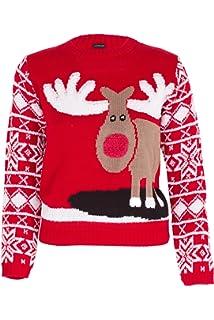 Reindeer Beige, 3-4 Years NOROZE Girls Christmas 3D Jumper Kids Bird Reindeer Retro Pullover Sweater