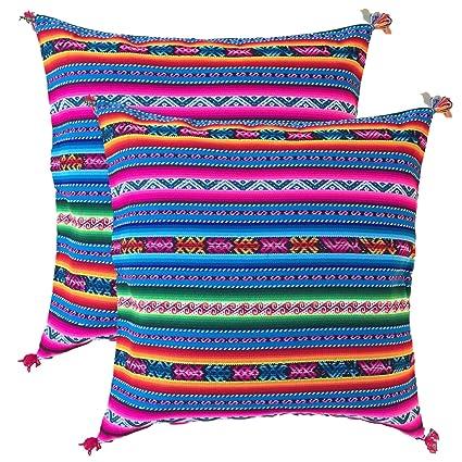 Nuevo colorido juego de fundas de cojín funda de almohada tejido azteca Inca comercio justo Perú