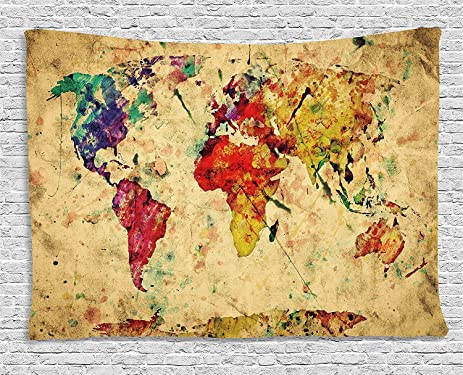 Amazon retro tapestry by ambesonne vintage world map on grunge retro tapestry by ambesonne vintage world map on grunge backdrop with colored continents artsy atlas gumiabroncs Image collections