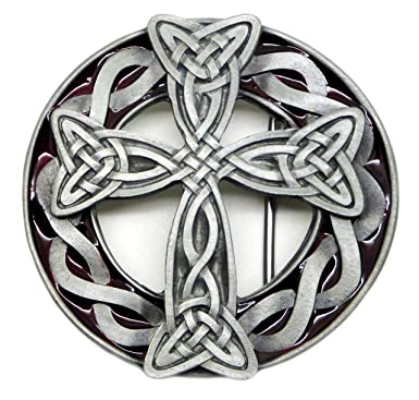 Viking Cross Belt Buckle 3d Celtic Knot Design In Red Authentic