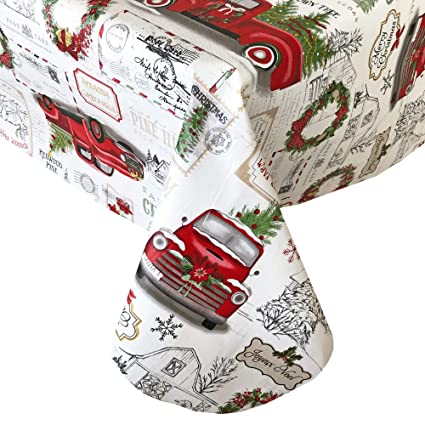 Newbridge Farm Fresh Christmas Tree Holiday Print Vinyl Flannel Backed Tablecloth, Nostalgic Retro Christmas Tablecloth, (60 Inch x 84 Inch Oval) best Christmas tablecloths