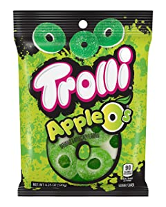 Trolli Apple O's Gummy Rings Candy, 4.25 Ounce Peg Bag (Pack of 12)