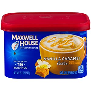 Maxwell House International Cafe Vanilla Caramel Latte (8.7 oz Canisters, Pack of 4)