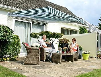 Primrose 3m Manual Awning - Green and White Mayfair DIY Patio ...