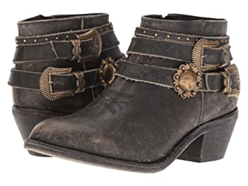 55796c65629 Corral Urban Women's Multi Buckle Straps Distressed Black Leather Ankle  Cowboy Boots