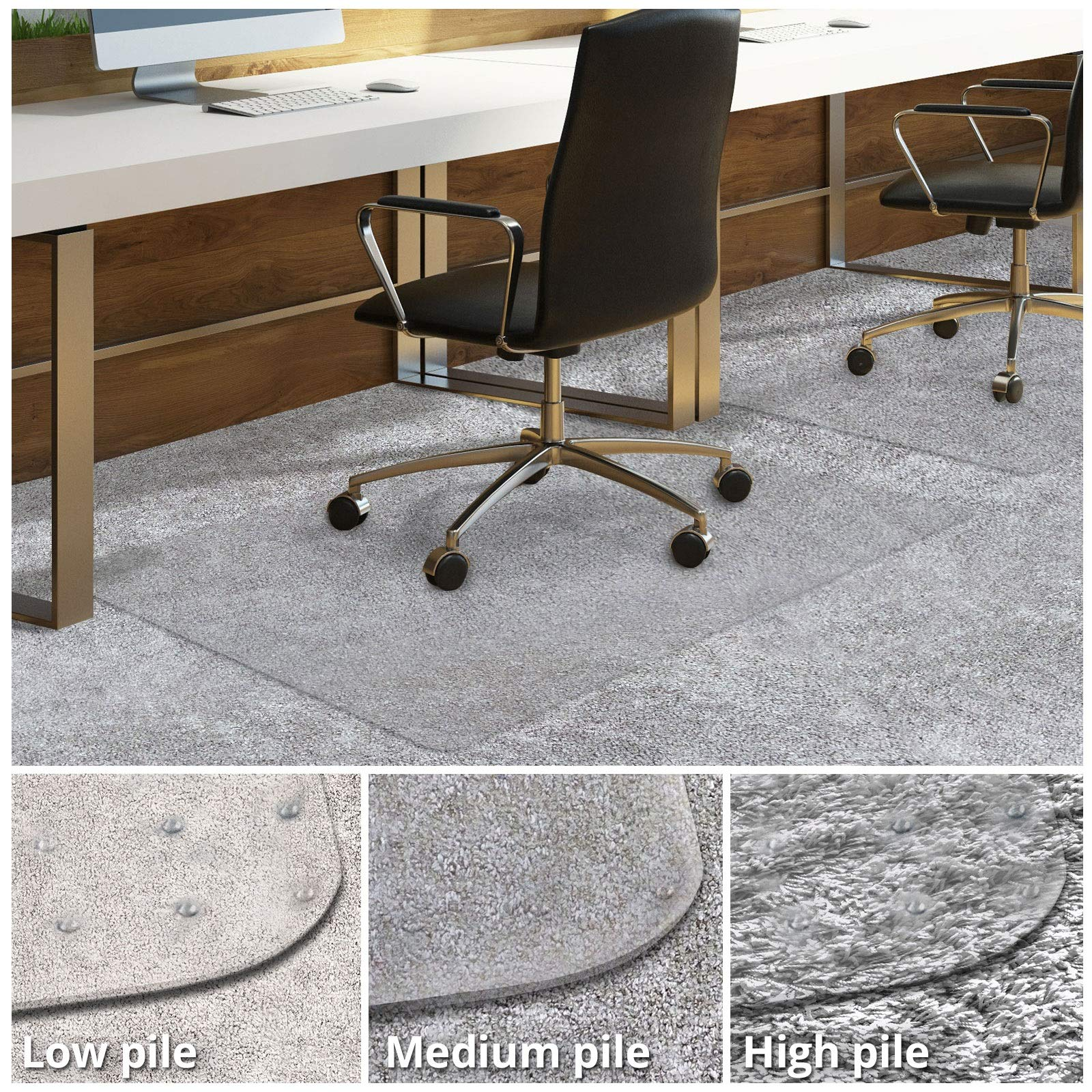 Office Chair Mat for Carpeted Floors | Desk Chair Mat for Carpet | Clear PVC Mat in Different Thicknesses and Sizes for Every Pile Type | Medium-Pile 36''x48'' by OfficeMarshal