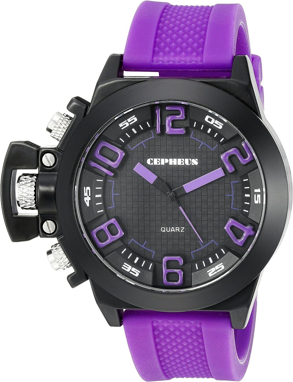 CEPHEUS CP901-620 - Reloj analógico de Cuarzo para Hombre con Correa de Silicona, Color Morado