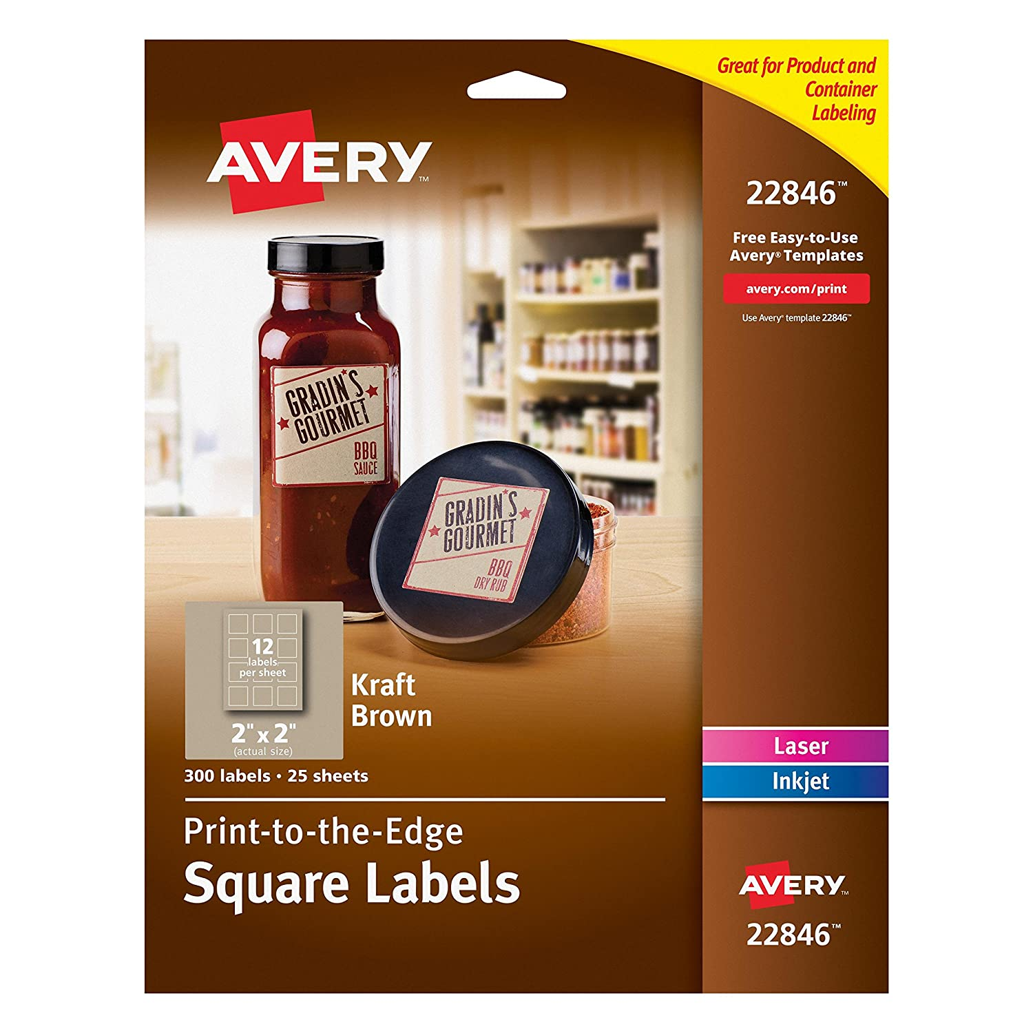 Amazon.com : Avery Print-to-the-Edge Square Labels, Kraft Brown, 2 x ...