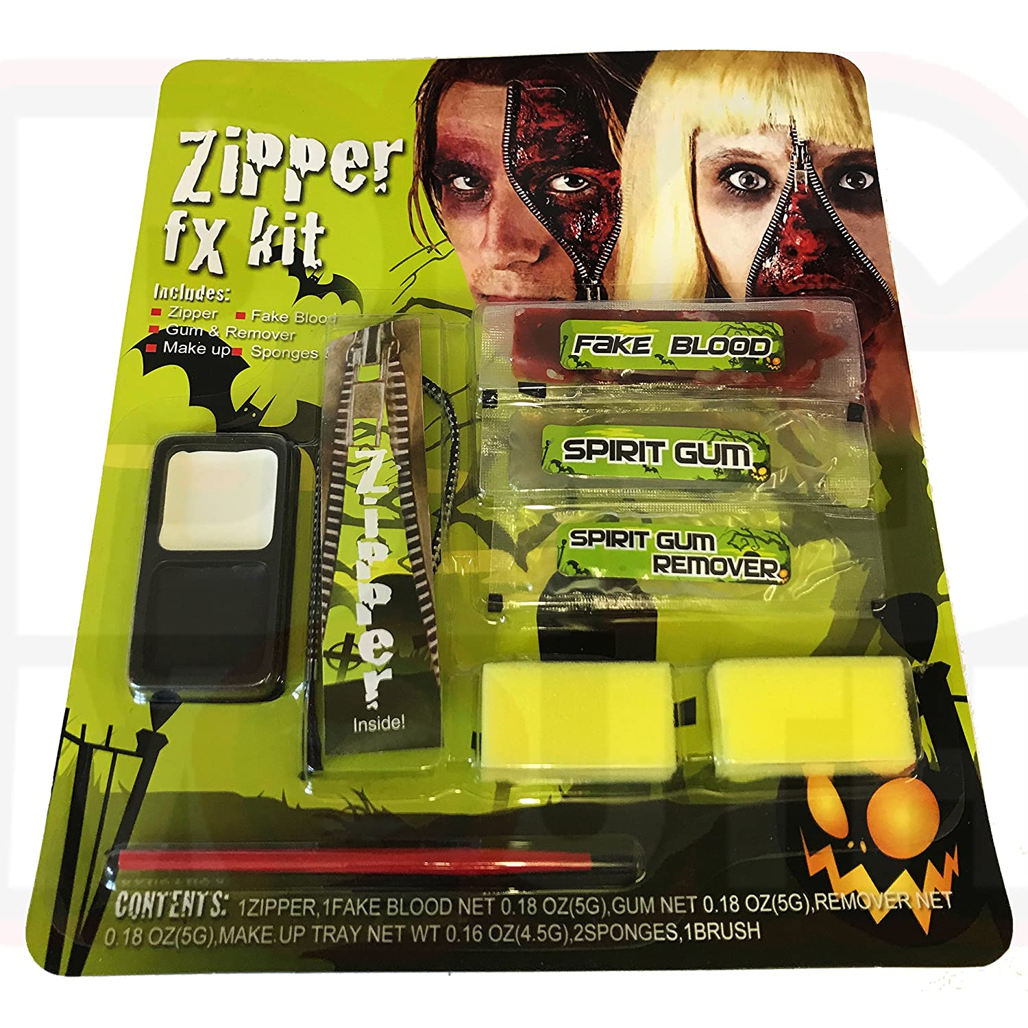 Bigmouth Zipper Face Halloween Zombie Make Up Kit Set - including Zipper / Gum & Remover / Makeup & Applicator Sponges for Halloween Fancy Dress Theatre Big Mouth