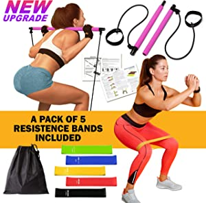 FitTogether 2020 Upgrade Pilates Bar Kit with 5 Resistance Bands – Home Yoga Pilates Bar Kit for Body Shaping – Gym at Home for Women – Ideal for Fitness, Gym, Home Workout Equipment