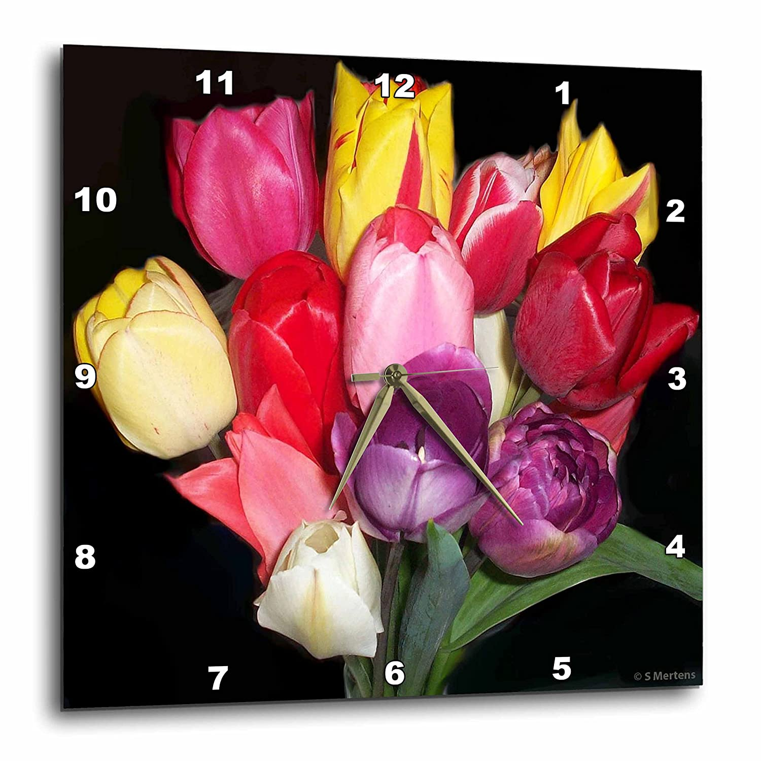 Multi-colored Tulip Bouquet 10 by 10-Inch 3dRose dpp/_6278/_1 Wall Clock