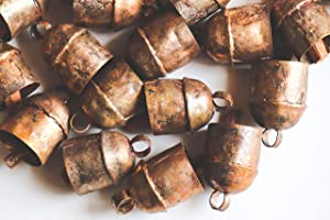MetalArt Handmade Vintage Indian Tin Bells Rustic Chime with Wood Striker Tin Cow Bells for Crafts Anniversary Cattle Party Favors Wall Art Orchard Garden Art (5 Bells in 1 Set) (Size -C)