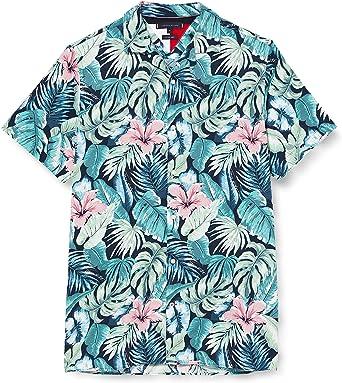 Tommy Hilfiger Camisa de Manga Corta con Estampado Hawaiano de Flores y Hojas, Azul (Blue), XXXL para Hombre: Amazon.es: Ropa y accesorios