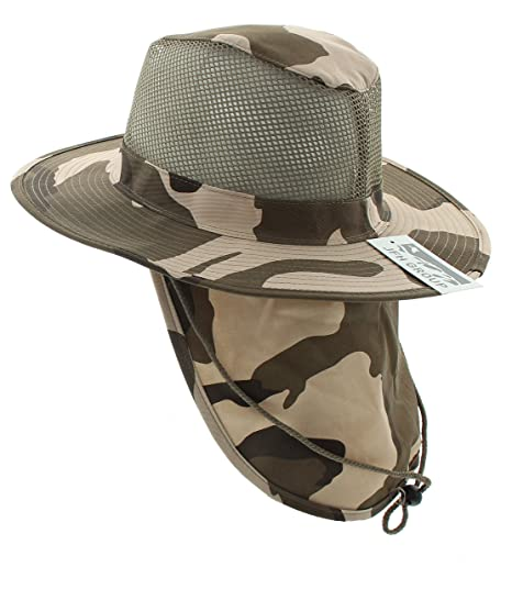 590d81ef4956e1 Image Unavailable. Image not available for. Color: JFH Group Wide Brim Men  Safari/Outback Summer Hat With Neck Flap ...