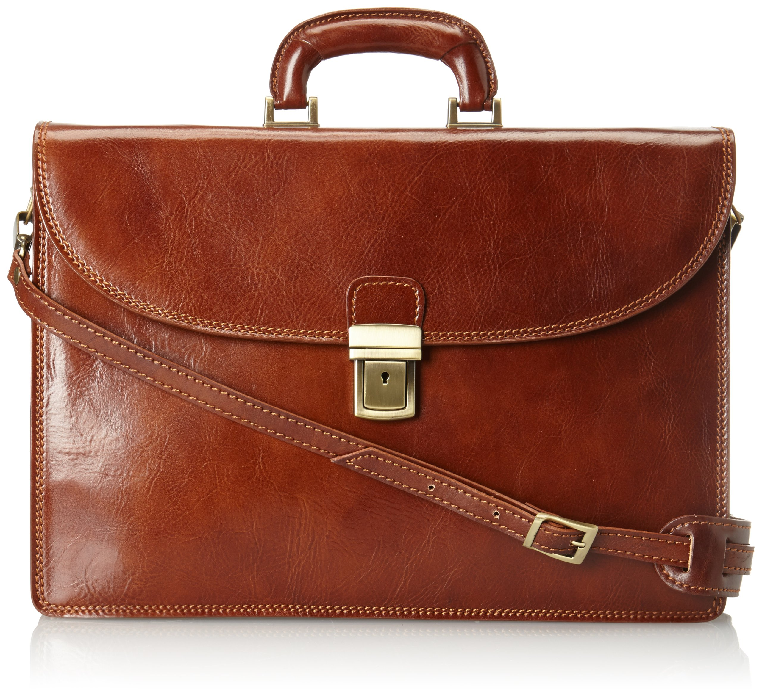 Floto Chianti Italian Calfskin Leather Brief, Brown, One Size