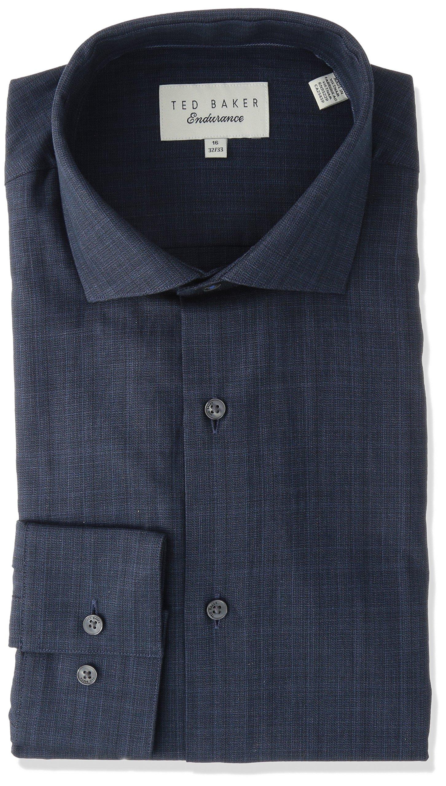 Ted Baker Men's Cholet Slim Fit Dress Shirt, Navy, 15.5'' Neck 32-33'' Sleeve
