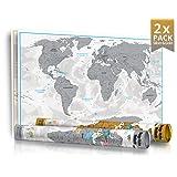 2er Pack (Silber & Gold) - Weihnachtsaktion - NEU - Limited Edition 2016 in Geschenkrolle mit Metalldeckel - XXL Design Rubbel Weltkarte mit 3D Relief-Optik (einzigartiges Berg und Ozean Relief) - Original Wenschow seit 1918