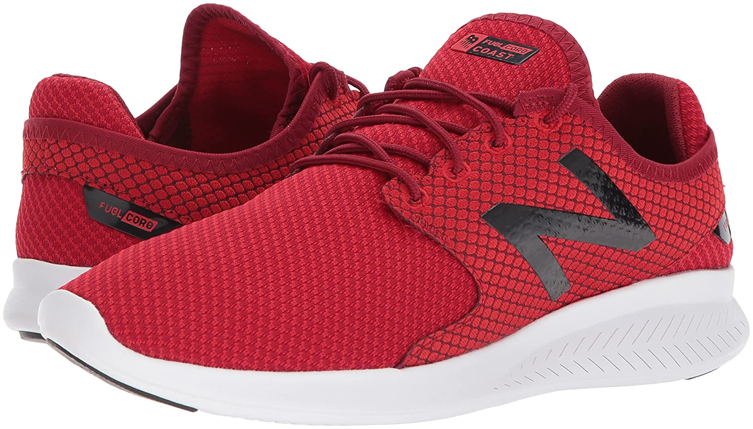 New Balance Mens FuelCore Coast v3 Running Shoe, Team red/Scarlet, 7 4E US