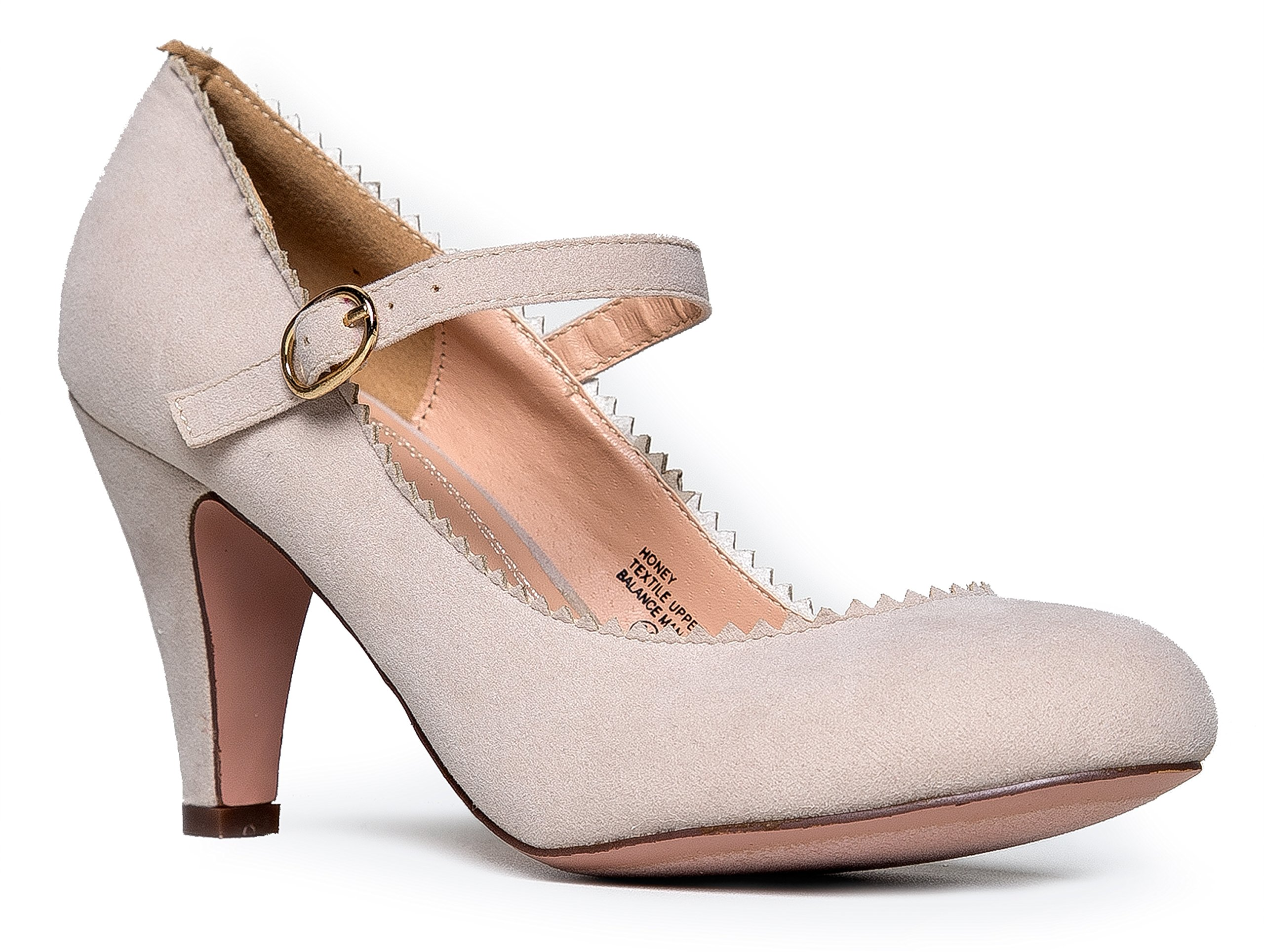 Mary Jane Kitten Heels, Vintage Retro Scallop Round Toe Shoe With An Adjustable Strap, 9 B(M) US, Nude Suede