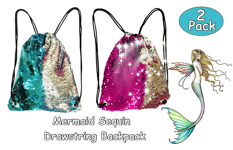 Toyme 2 Pack Mermaid Sequin Drawstring Backpack, Magic Dancing Bag, Glittering Sports Backpack Kids, Adults