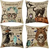 """Bonsai Tree Halloween Pillow Covers, Trick or Treat Pumpkin Skull Couch Throw Pillow Covers 18""""x18"""", Vintage Scary Black…"""