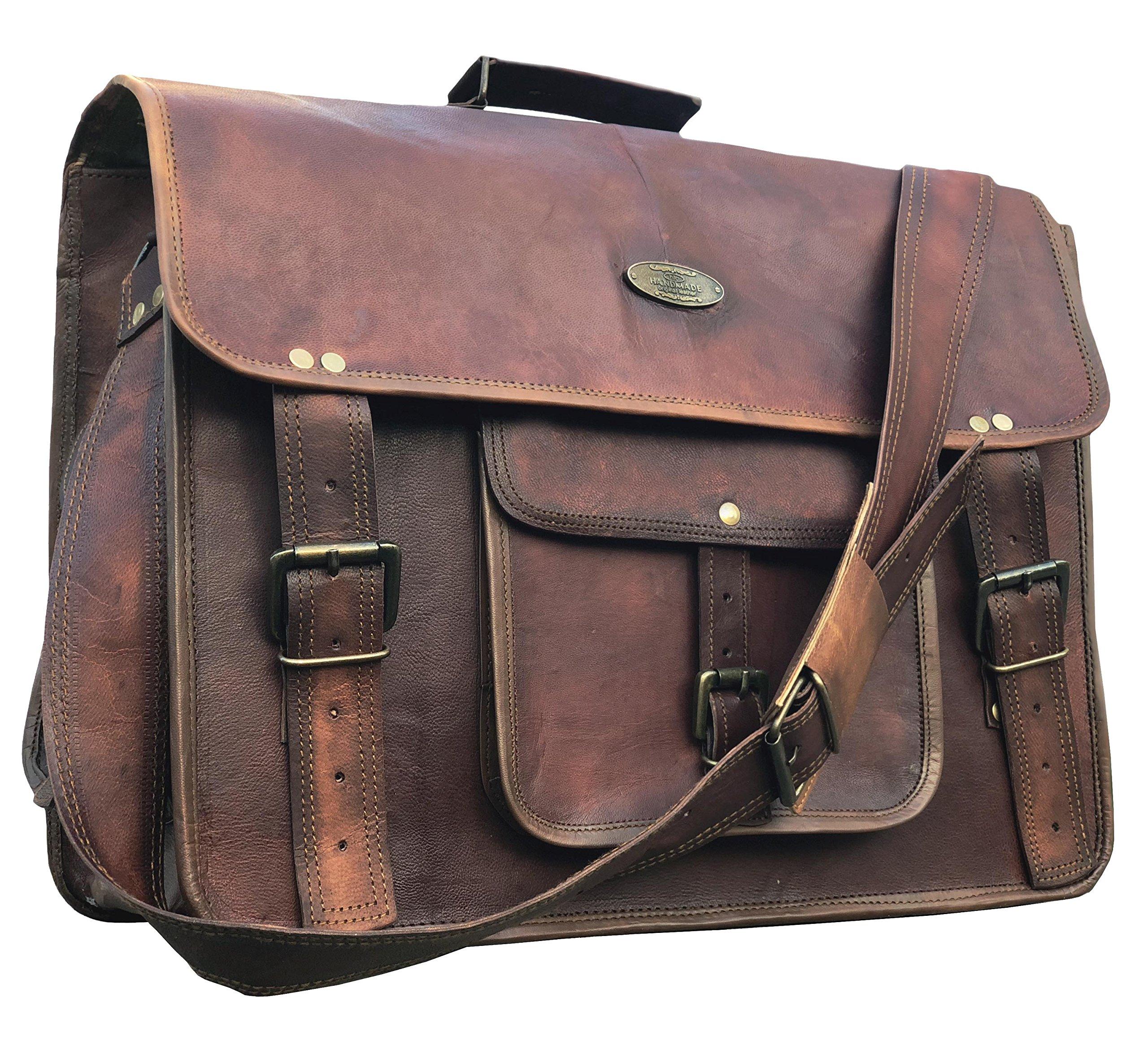 leather messenger bags for men women 18'' mens briefcase laptop bag best computer shoulder satchel school distressed bag