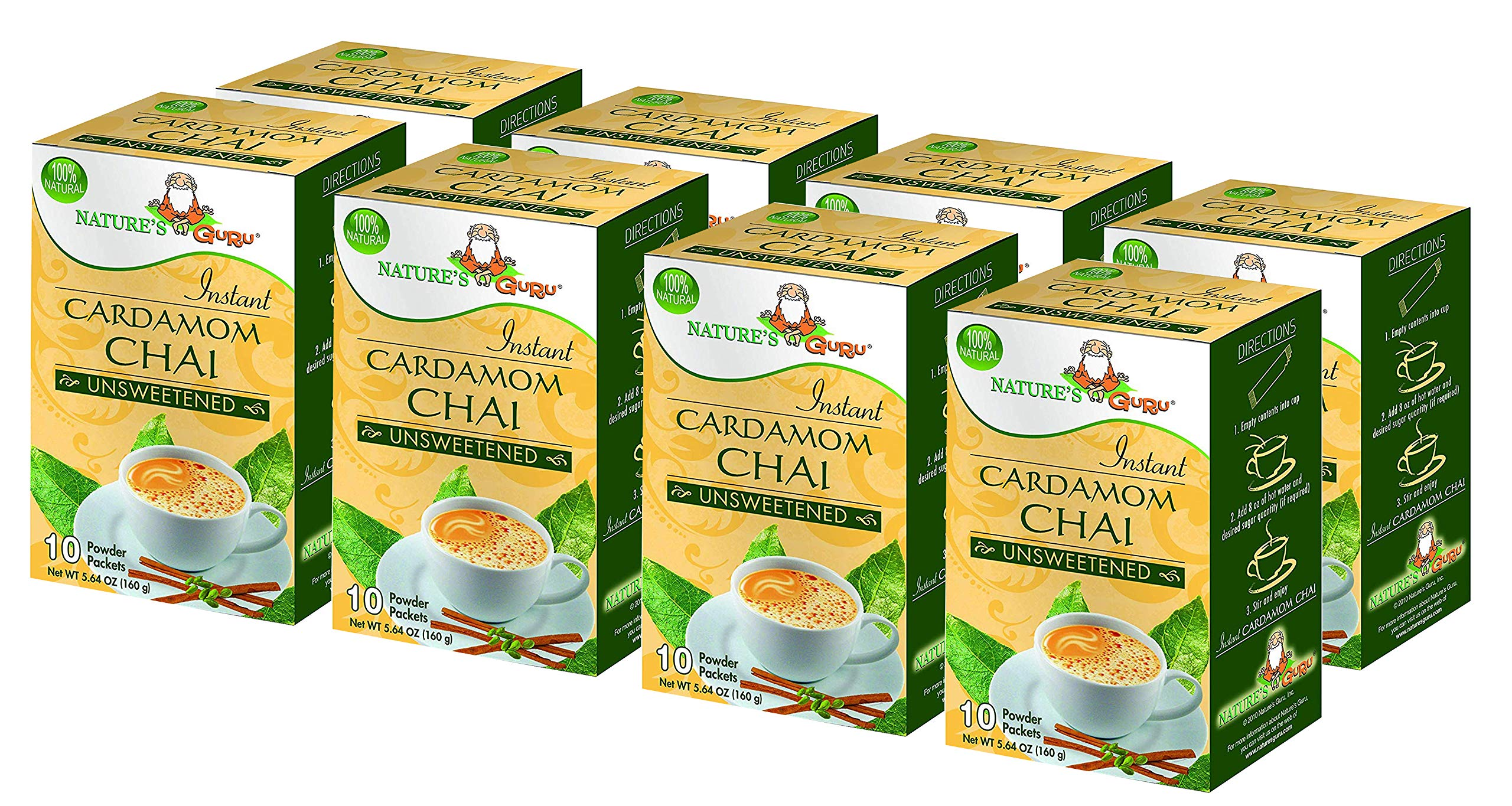 Nature's Guru Instant Cardamom Chai Tea Drink Mix, Unsweetened, 10 Count Single Serve On-the-Go Drink Packets (Pack of 8) by Nature's Guru