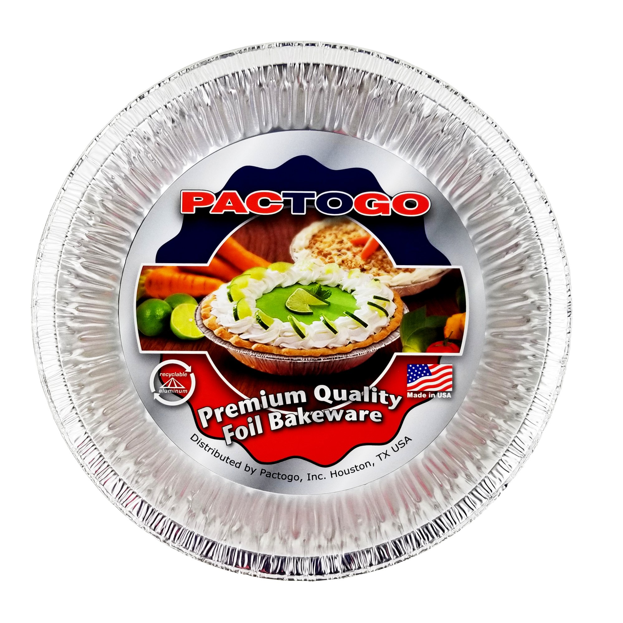 Pactogo 10'' (Actual Top-Out 9-5/8 Inches - Top-In 8-3/4 Inches) Aluminum Foil Pie Pan - Disposable Baking Tin Plates (Pack of 12) by PACTOGO (Image #2)