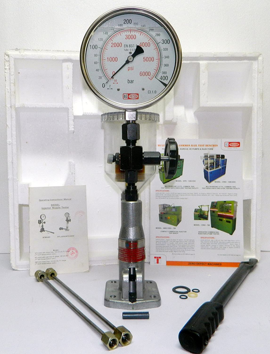 Diesel Injector Nozzle Pop Tester with Glycerin Filled, Heavy Duty, 400 BAR & PSI Dual Scale Gauge Indian Machine Tools