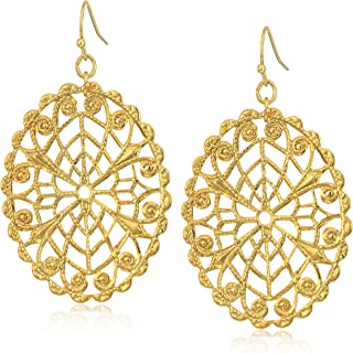 product image for 1928 Jewelry Gold-Tone Oval Filigree Drop Earrings