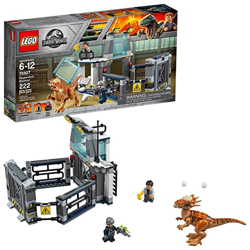 LEGO Jurassic World Stygimoloch Breakout 75927 Building Kit 222 pieces includes Dr. Wu's 2-level laboratory with observation deck, ladder, 2 translucent-yellow floodlights, workbench, 2 windows, plus an adjoining dinosaur enclosure with a lifting gate for kids age 6-12 #jurassicworld