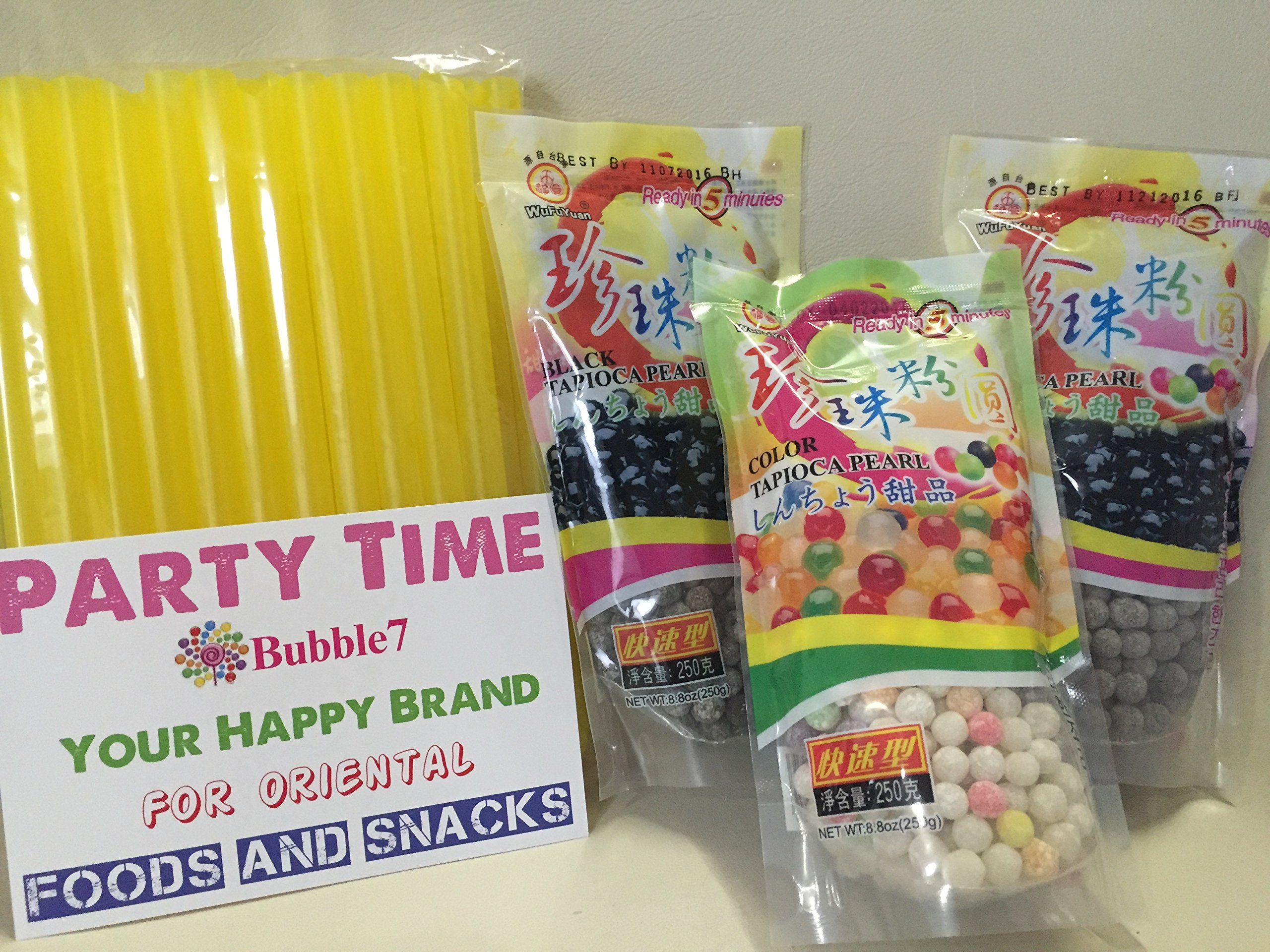 3 Packs Total of BOBA Tapioca Pearl ''Bubble Tea Ingredients'', 2 packs of (Black), Plus 1 Pack of (Color) Pearl Bubble,With Additonal 1 Pack of 50 BOBA STRAWs (Variety Color) by WuFuYuan (Party Time)
