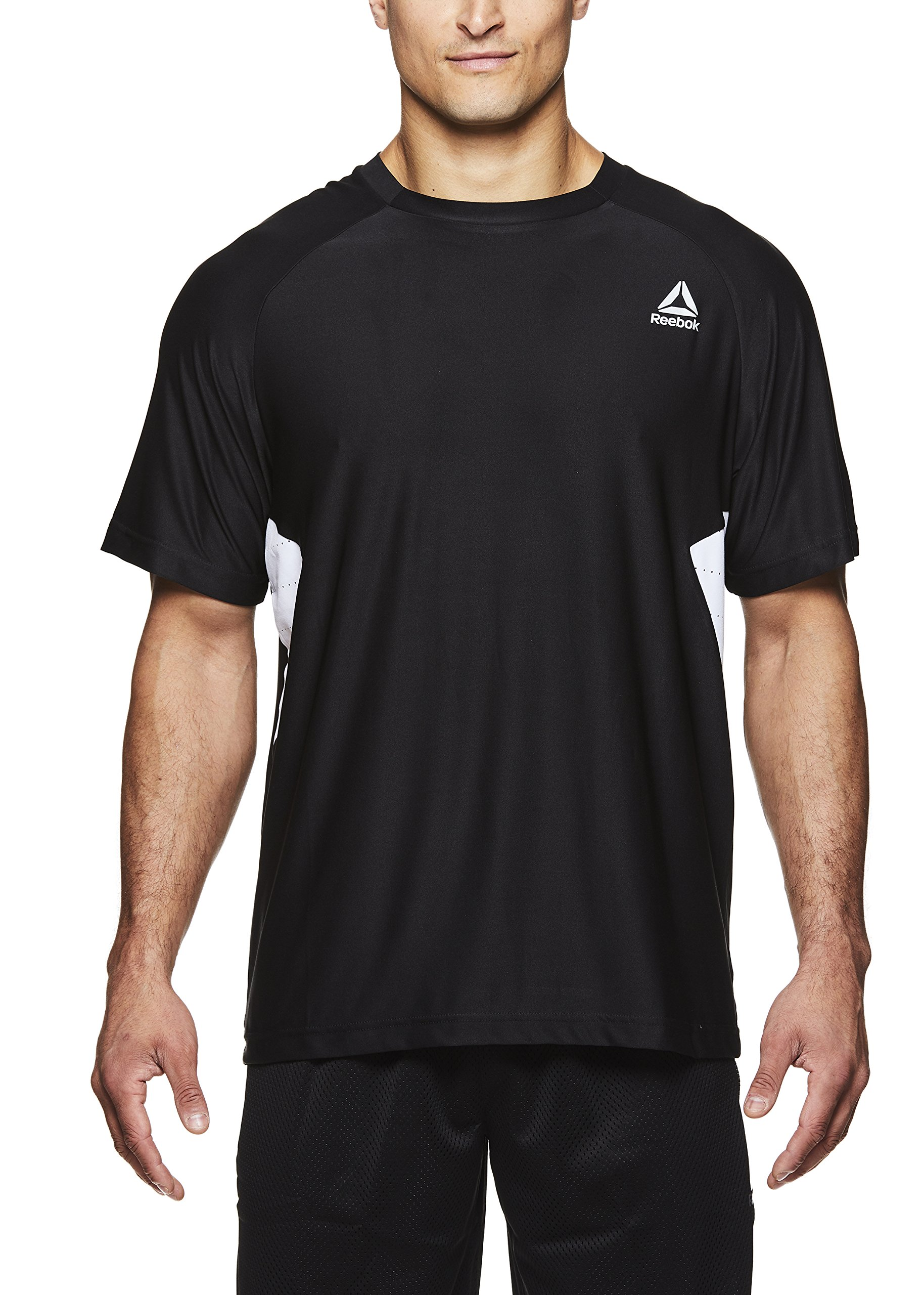 Reebok Men's Supersonic Crewneck Workout T-Shirt Designed with Performance Material - Black - Pace Hybrid, Small