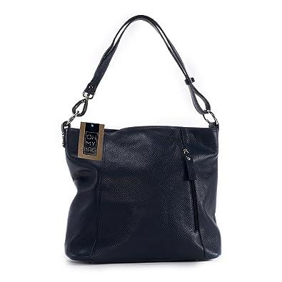 9e9a3a721c5 OH MY BAG Sac à main en cuir italien So Chic bleu fonce  Amazon.fr ...