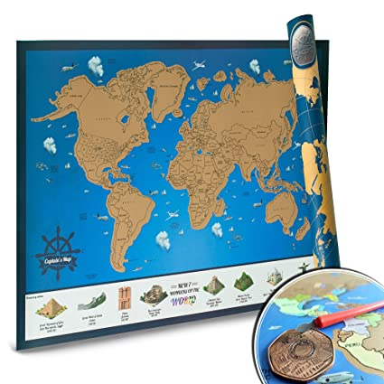 Amazon scratch off map of the world promo tracking poster scratch off map of the world promo tracking poster for travelers unique gift gumiabroncs Images
