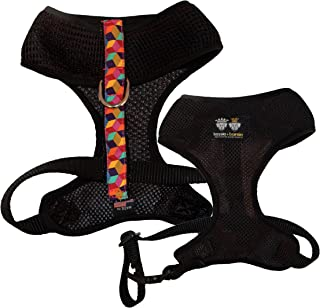 product image for BESSIE AND BARNIE Air Comfort Harness for Pets, Black/Ocean Blocks/Hot Pink