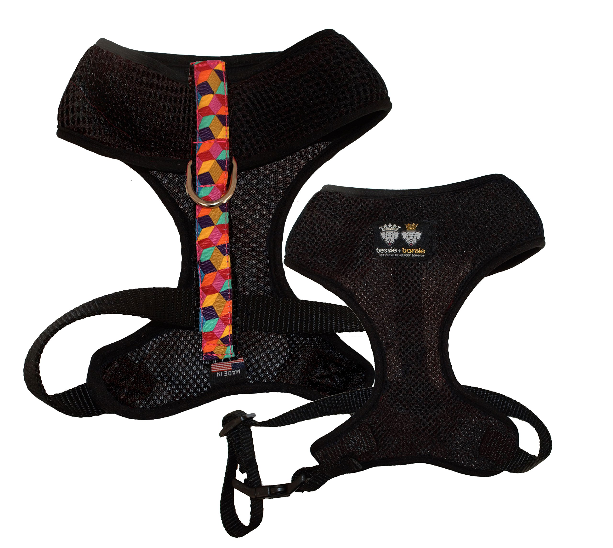 BESSIE AND BARNIE Signature Air Comfort Mesh Luxury Black/Rainbow Blocks/Black Pet Dog Durable Adjustable Harness (Multiple Sizes) by BESSIE AND BARNIE