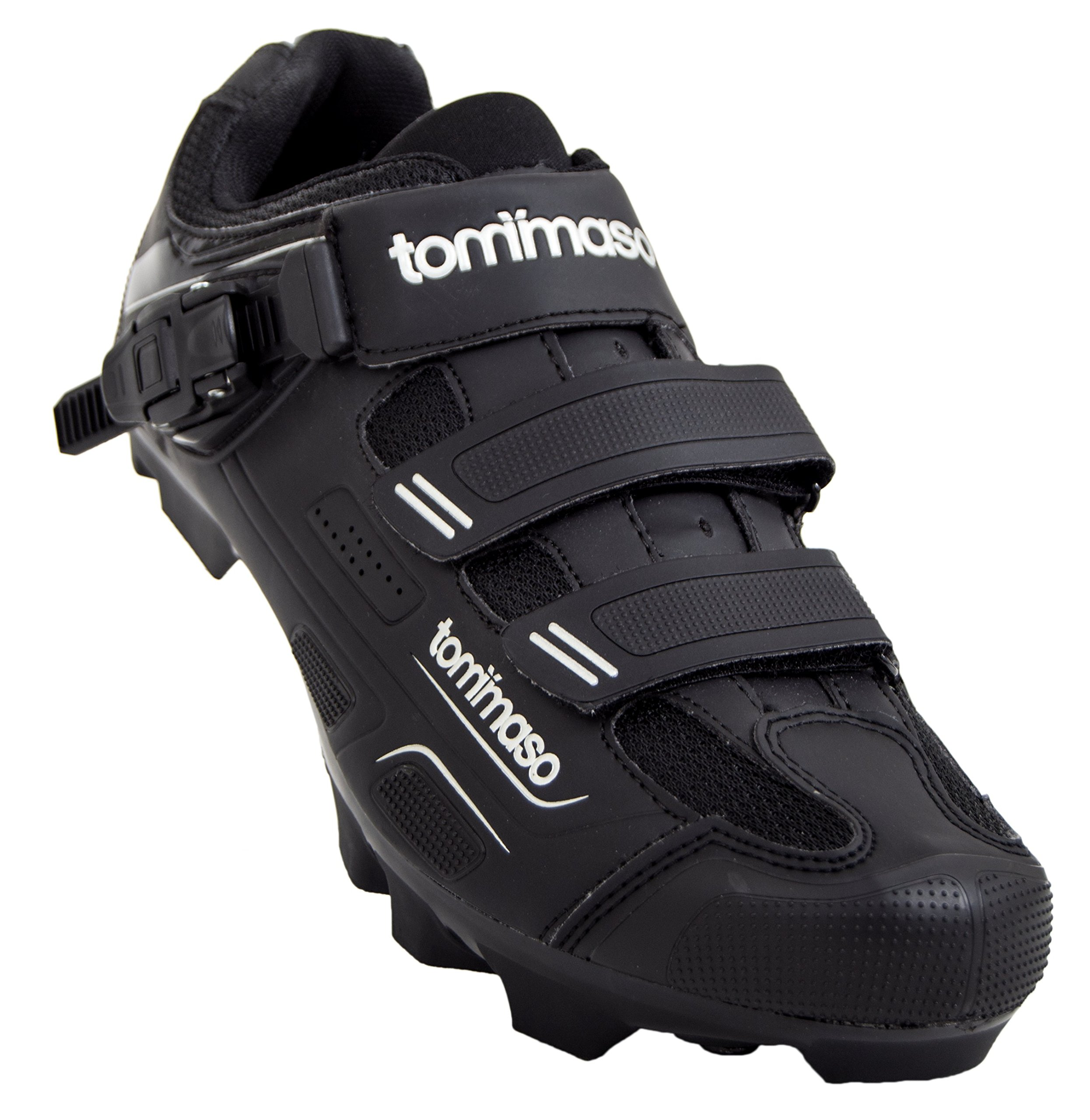 Tommaso Montagna 200 Men's Mountain Bike MTB Spin Cycling Shoe with Buckle Compatible with SPD Cleats Black - 43 by Tommaso