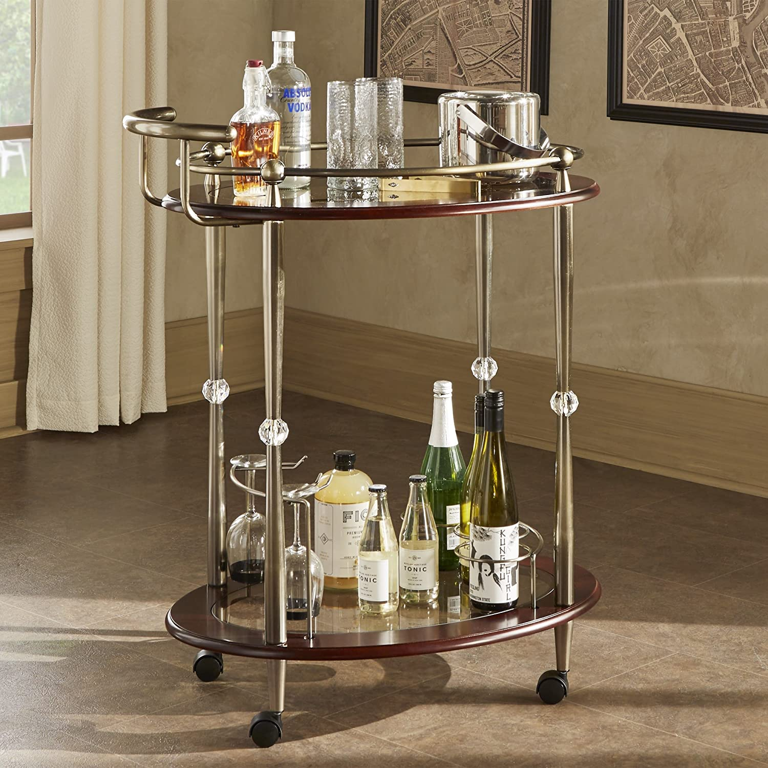 iNSPIRE Q Metropolitan Brown Gold Metal Mobile Bar Cart with Glass Top by  Bold
