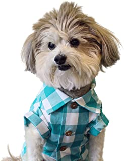 product image for Dog Threads Picnic Plaid Shirt Check Plaid Button Down Dog Shirt Teal