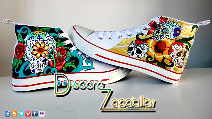 1ae4ffa753bc Sugar sweet Skulls custom canvas shoes handpainted