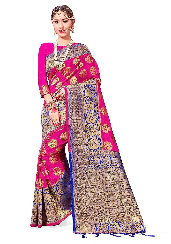 1e880972690a87 Amazon.com  Sarees for Women Banarasi Art Silk Woven Saree l Indian Wedding  Traditional Wear Sari and Blouse  Clothing